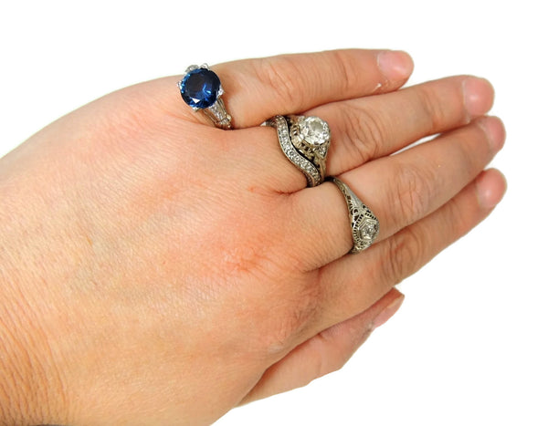 Art Deco Blue Spinel Ring Platinum 14k Gold with Diamonds - Premier Estate Gallery  - 9