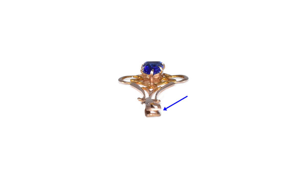 Edwardian 10k Gold Pendant Blue Simulated Sapphire c1900