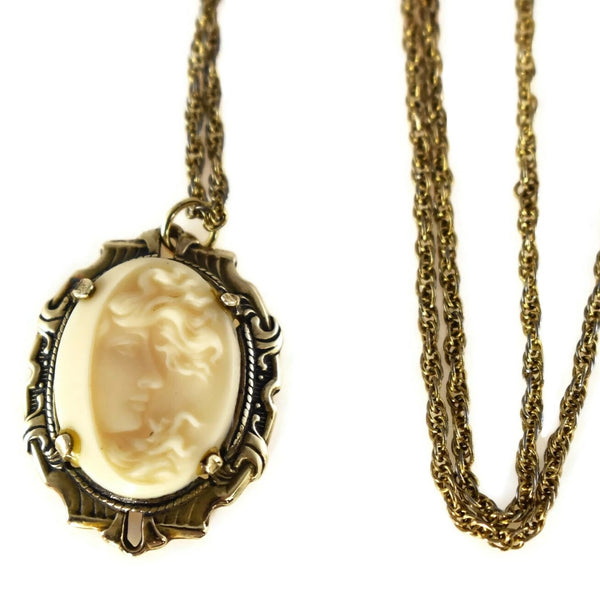 10k Art Nouveau Cameo Lady In Wind with Chain Authentic Period Antique - Premier Estate Gallery