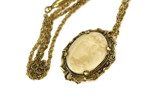 10k Art Nouveau Cameo Lady In Wind with Chain Authentic Period Antique - Premier Estate Gallery 5