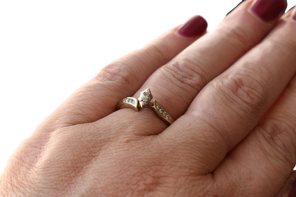 Vintage 10k Gold Marquise Diamond Ring c1960 - Premier Estate Gallery 2