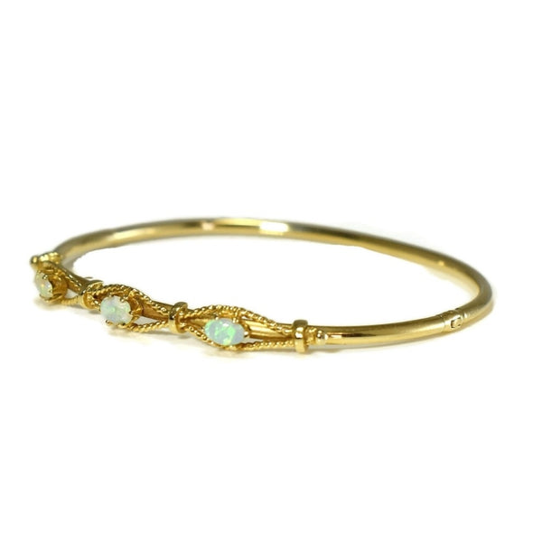 Victorian Style 14k Gold Opal Hinged Bangle Bracelet Estate - Premier Estate Gallery 1