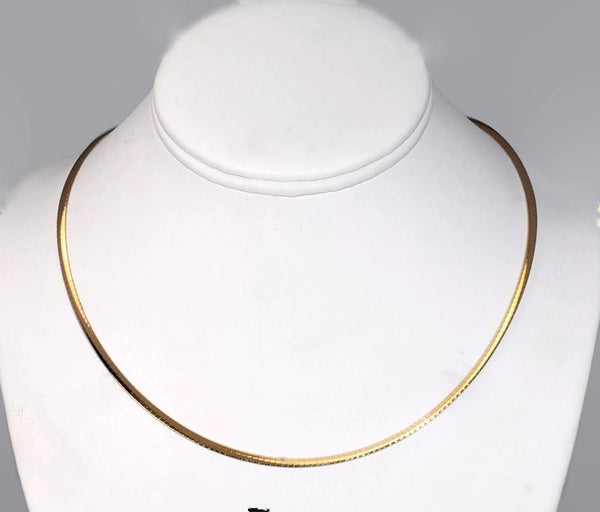 14k Omega Chain Reversible White Gold Yellow Gold Necklace 7.9g