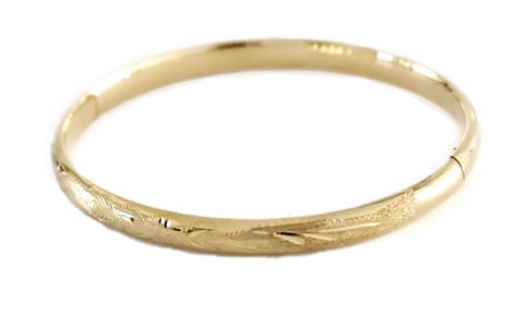 14k Victorian Style Bangle Bracelet Etched Gold Florals - Premier Estate Gallery 1