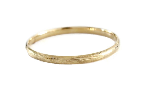14k Victorian Style Bangle Bracelet Etched Gold Florals - Premier Estate Gallery 2