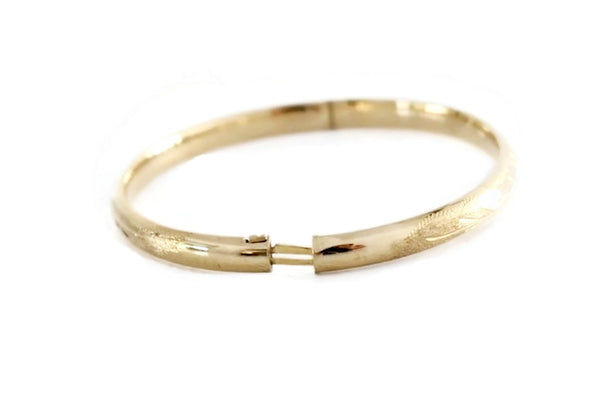 14k Victorian Style Bangle Bracelet Etched Gold