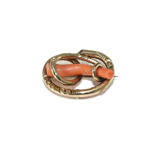 Victorian 14k Gold Love Knot with Branch Coral Antique Brooch Pendant - Premier Estate Gallery 2