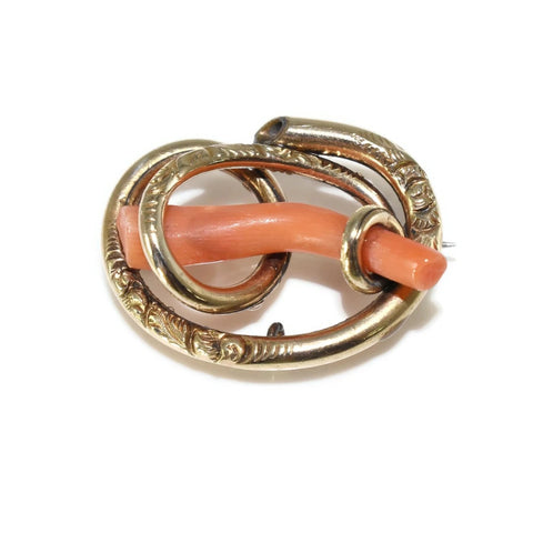 Victorian 14k Gold Love Knot with Branch Coral Antique Brooch Pendant - Premier Estate Gallery