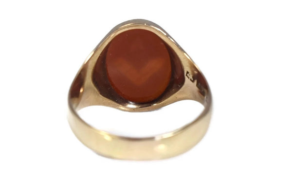 14k Masonic Ring with Carved Carnelian Gemstone Vintage