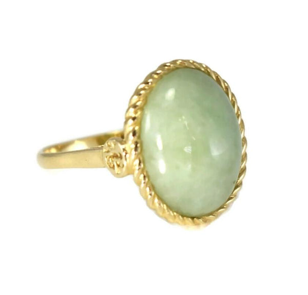14k Gold Jade Cabochon Ring 8 Carats Signed Sanuk - Premier Estate Gallery