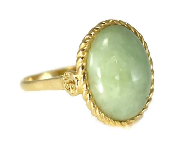 14k Gold Jade Cabochon Ring 8 Carats Signed Sanuk - Premier Estate Gallery 1