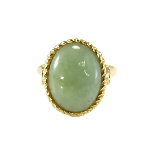 14k Gold Jade Cabochon Ring 8 Carats Signed Sanuk - Premier Estate Gallery 2