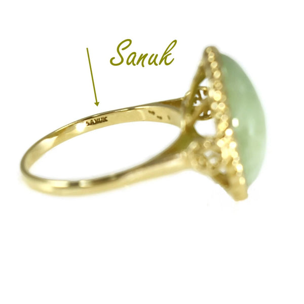 14k Gold Jade Cabochon Ring 8 Carats Signed Sanuk Victorian Style