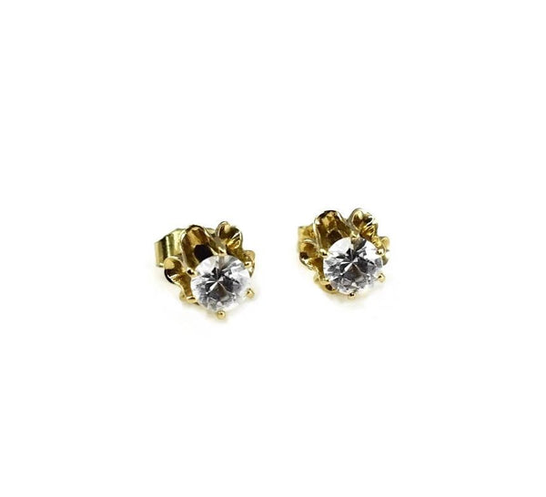 Estate 14k White Topaz Earrings Buttercup Setting 1.12 CTW