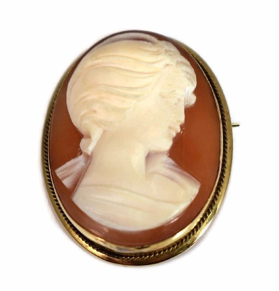 Vintage 18k Gold Cameo Pendant or Brooch Italy Signed Convertible Setting c1920 - Premier Estate Gallery