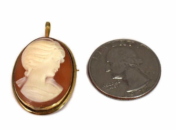 18k Cameo Brooch or Pendant Italy Signed - Premier Estate Gallery
