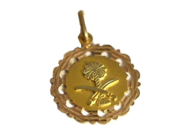 Vintage 18k Saudia Arabia Coat of Arms Pendant, Solid 18k Gold Saudi Charm Vintage - Premier Estate Gallery 1