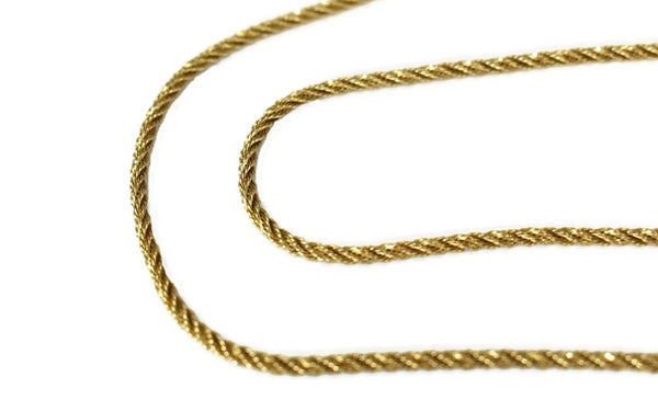 Shimmering 14k Gold Rope Necklace Chain 18 inch