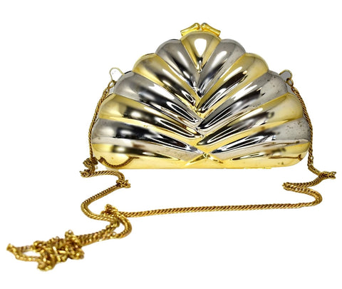 Deco Style Metal Puffy Fan Evening Bag or Clutch Two Tone Metal - Premier Estate Gallery
