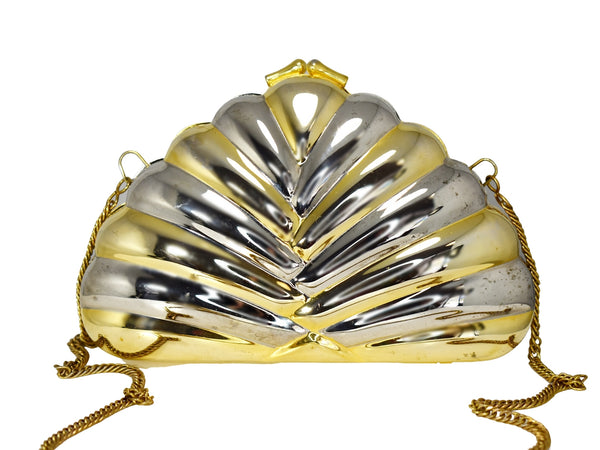 Deco Style Metal Puffy Fan Evening Bag or Clutch Two Tone Metal - Premier Estate Gallery 1