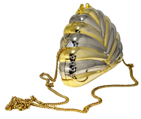 Deco Style Metal Puffy Fan Evening Bag or Clutch Two Tone Metal - Premier Estate Gallery 2