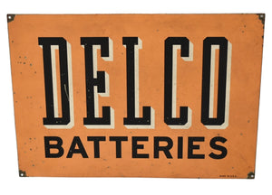 Metal Delco Batteries Sign Vintage Industrial Decor Man Cave Wall Display - Premier Estate Gallery