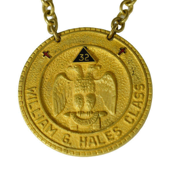 Vintage Brass Masonic Medal Madison WI Consistory 32nd 33rd Degree Scottish Rite - Premier Estate Gallery