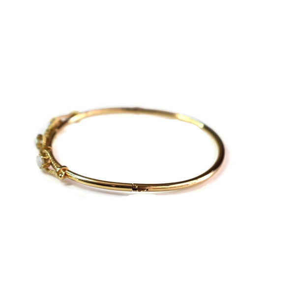 Victorian Style 14k Gold Opal Hinged Bangle Bracelet Estate