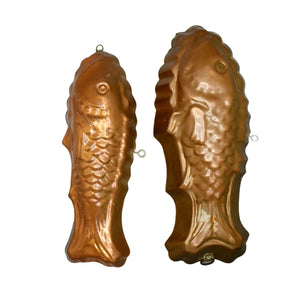 Pair Larger Copper Tin Fish Jelly Molds Antique Nautical Decor - Premier Estate Gallery