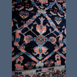 Estate Antique Persian Malayer Rug Runner Hand Knotted Coral Navy Periwinkle c1920 - Premier Estate Gallery 4