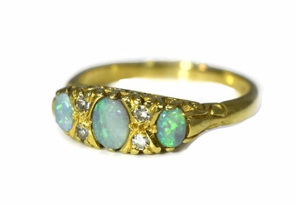 18k Gold Opal Diamond Ring Three Stone Vintage Victorian Style
