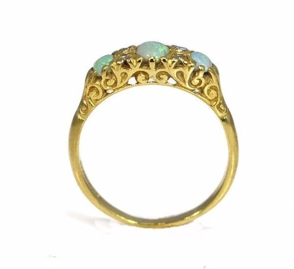 Estate 18k Gold Opal Diamond Ring Three Stone Vintage Victorian Style - Premier Estate Gallery 3