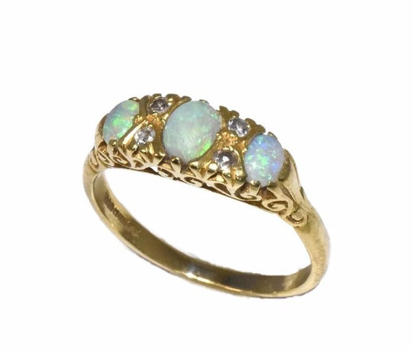Estate 18k Gold Opal Diamond Ring Three Stone Vintage Victorian Style - Premier Estate Gallery 2