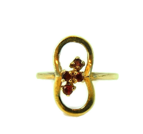 Mid Century Garnet Ring 10k Gold January Birthstone Ring - Premier Estate Gallery  - 1