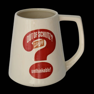 "Vintage Schlitz ""Out of Beer Unthinkable"" Large 2 Liter Beer Mug c1970 Breweriana - Premier Estate Gallery"