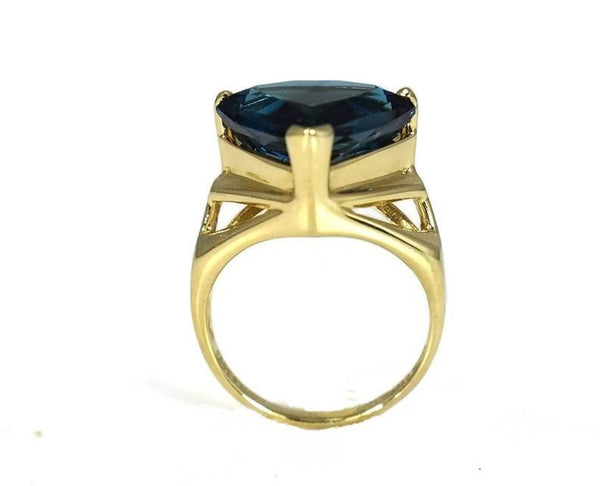 Contemporary 14k London Blue Topaz Gemstone Ring - Premier Estate Gallery 3