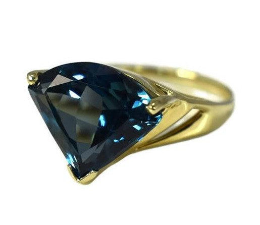 Contemporary 14k London Blue Topaz Gemstone Ring - Premier Estate Gallery