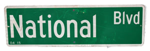 Authentic Street Sign NATIONAL BLVD Big 30X9 inch Industrial Loft Restaurant Bar Decor - Premier Estate Gallery