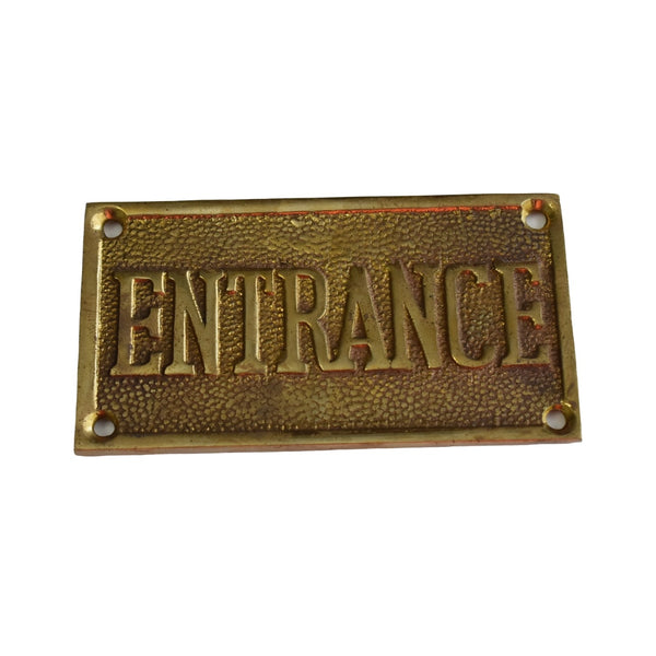 Vintage Brass ENTRANCE EXIT Reversible Brass Sign Solid Cast c1960 Great Gold Decor - Premier Estate Gallery