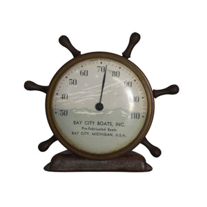Vintage Bay City Boats Inc Michigan Ships Wheel Thermometer Desktop c1940s - Premier Estate Gallery