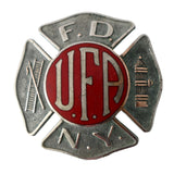 Vintage FDNY UFA Enamel Firefighter Hat Badge c1930s EXCELLENT New York Fire Collectible - Premier Estate Gallery 2