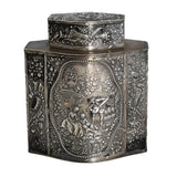 19th Century German Silver Tea Caddy Romantic Repousse Courting Scene Schleissner & Sons Hanau Marks - Premier Estate Gallery