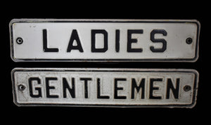 1940s Ladies Gentlemen Vintage Signs Enamel Restroom Signs Pair Great Industrial Decor - Premier Estate Gallery