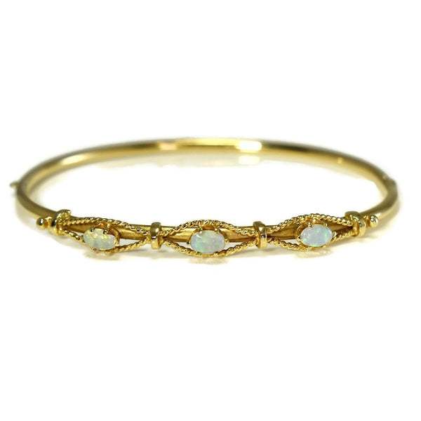 Victorian Style 14k Gold Opal Hinged Bangle Bracelet Estate - Premier Estate Gallery