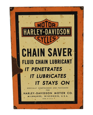 Retro Harley-Davidson Chain Saver Lubricant Metal Sign  - Premier Estate Gallery