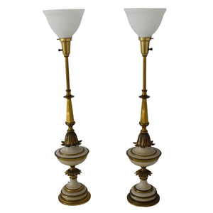 Vintage Hollywood Regency Stiffel Torchiere Lamps Tall Table Lamps Great Gold Decor - Premier Estate Gallery