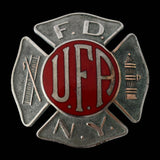Vintage FDNY UFA Enamel Firefighter Hat Badge c1930s EXCELLENT New York Fire Collectible - Premier Estate Gallery