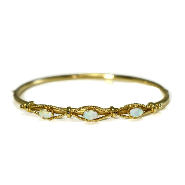 Victorian Style 14k Gold Opal Hinged Bangle Bracelet Estate - Premier Estate Gallery 3