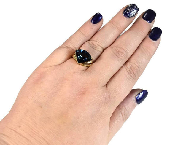 Contemporary 14k London Blue Topaz Gemstone Ring
