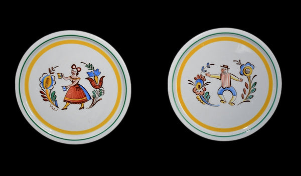 Vintage Arabia of Finland Tea Tiles Trivet Set Gaudy Dutch Style c1960 Hand Painted - Premier Estate Gallery